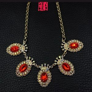 New Betsey Johnson red crystal necklace